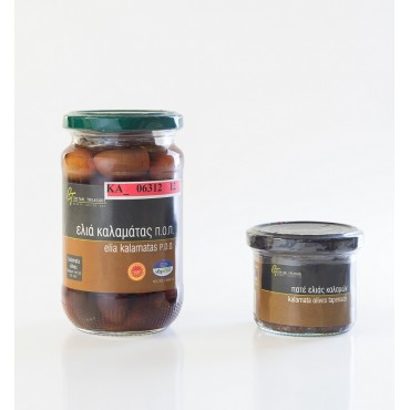 PDO KALAMATA OLIVES - Glass jar - 215gr