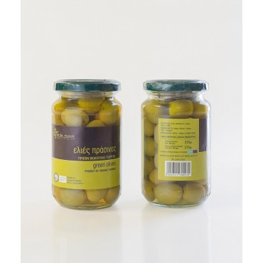 ORGANIC GREEN OLIVES - GLASS JAR - 215gr