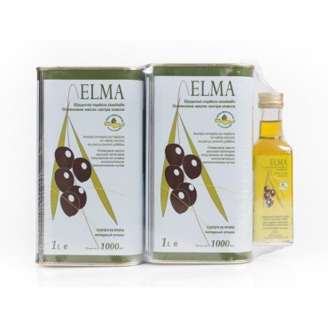 SET 2 x ELMA EXTRA VIRGIN OLIVE OIL METAL CAN 1L + ELMA 100ml FREE