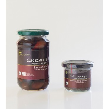 Organic Kalamata olives - Glass jar - 215 gr